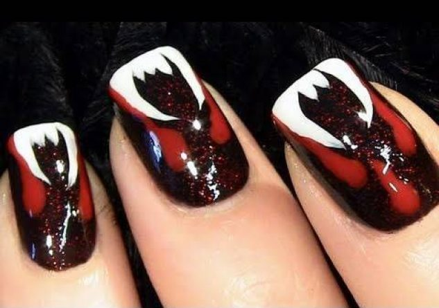 unhas vampiro Unhas Decoradas para Halloween